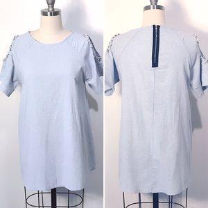Korean Brand Cold shoulder denim mini dress